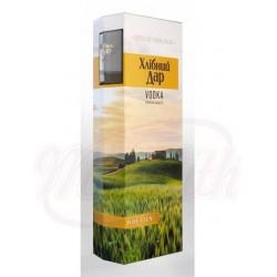 Vodka Hlibny Dar - Wheaten Souvenirbox con 2 vasos 40% vol. 0,7 L