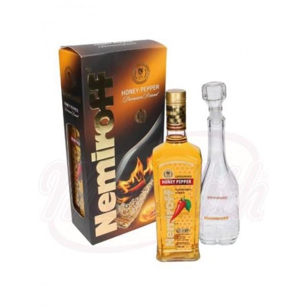 "Vodka con sabor ""Nemiroff - Honig und Peperoni"" - Souvenirbox con garaffa 40 alc. - Ucrania"
