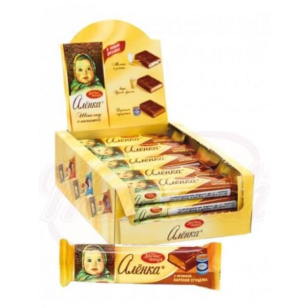 Barrita de chocolate Alenka con relleno de leche condensada cocida 48 g - Rusia