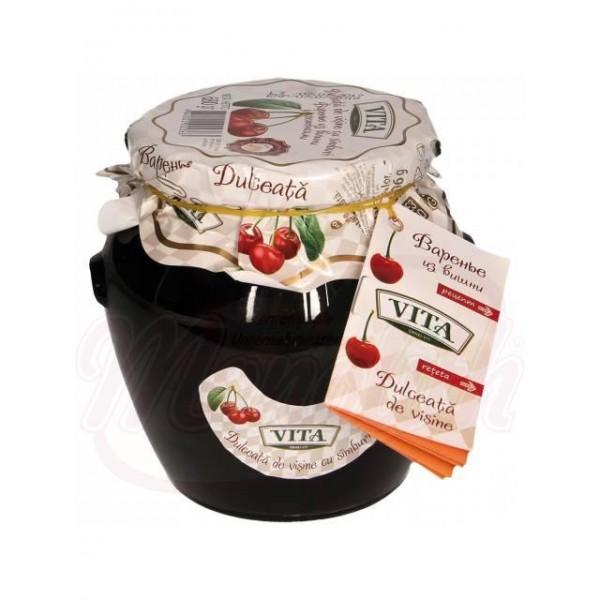 Mermelada de cerezas amargas con hueso en almíbar de azúcar VITA 680 g - Moldavia
