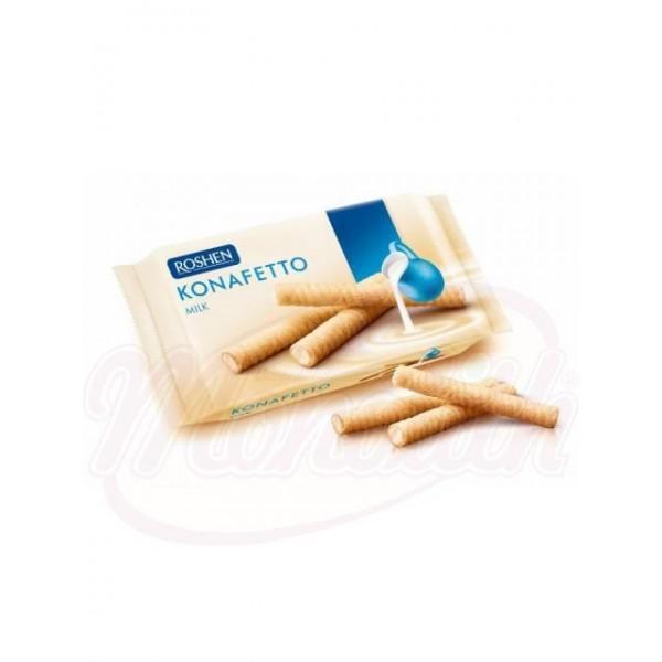Rollos de barguillos  Roshen Konafetto con relleno de crema sabor a leche 156 g - Ucrania