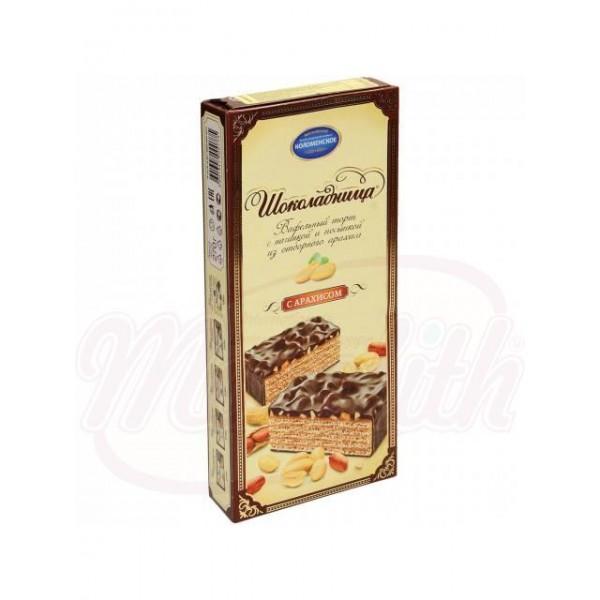 Tarta de chocolate Kolomenskoe con barquillos  Schokoladniza con relleno de crema sabor a cacahuetes en glace de cacao 270 g - Rusia