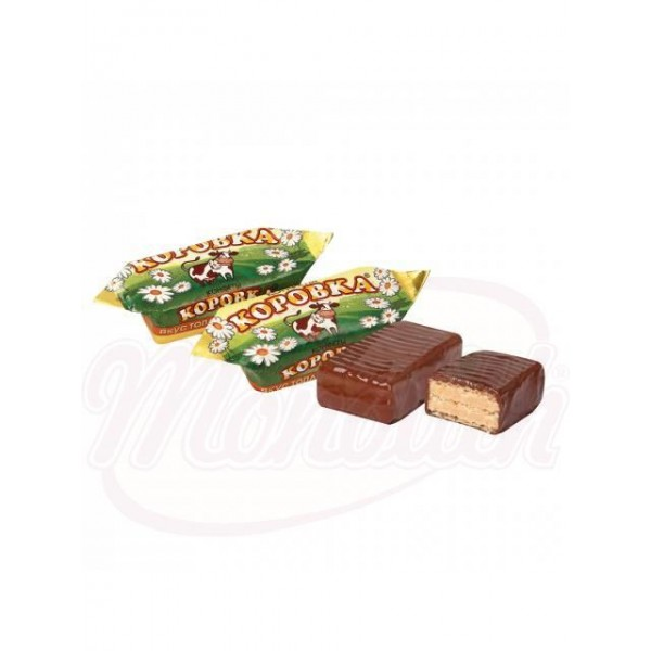 Bombones Korovka leche al horno con barquillo glaseados en chocolate 100 g - Rusia