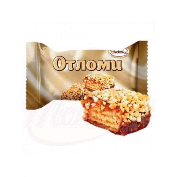 Barquillos otlomi con crema y caramelo, espolvoreados con glaseado a base de cacao 100 g - Rusia