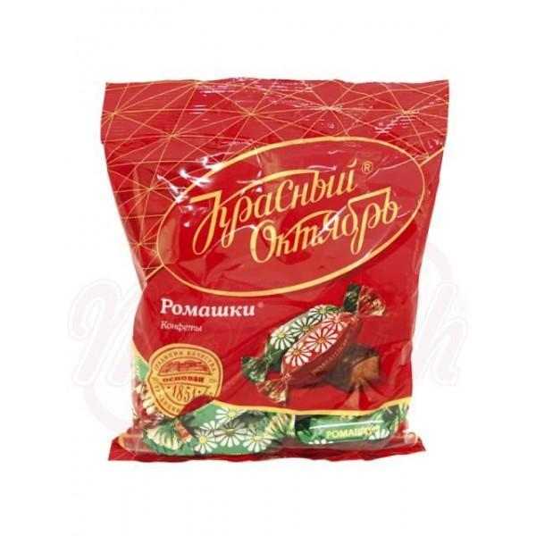 Bombones Romaschki sabor a ron glaseados en cacao  Krasnyj Oktjabr  250 g - Rusia