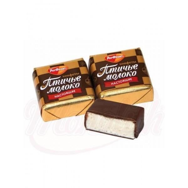"Bombon ""Ptiche moloko"" con sabor a crema y vainilla en glace de cacao 100 g - Rusia"
