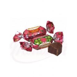 Bombones con gelatina sabor a frambuesa glaseados en cacao 100 g