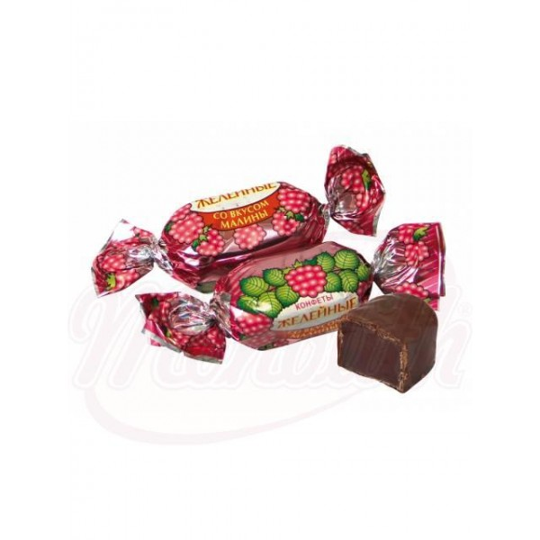 Bombones con gelatina sabor a frambuesa glaseados en cacao 100 g - Rusia