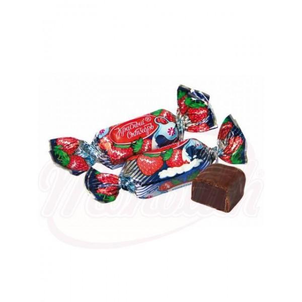 Bombones Zheleinie con gelatina de fresa glaseados en cacao 100 g - Rusia