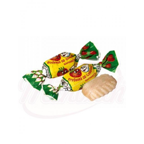 Caramelo duro relleno de sabor a crema y fresas 100 g - Rusia