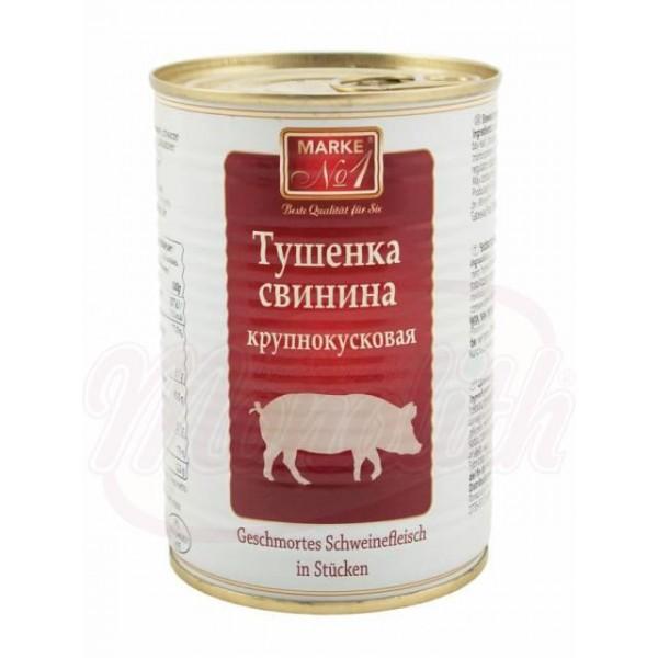 "Carne de cerdo estofada en trozos ""Tushenka""  400 g - Polonia"