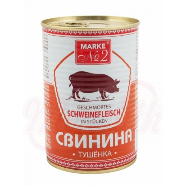 Carne de cerdo estofada en trozos Tushenka 400 g - Polonia