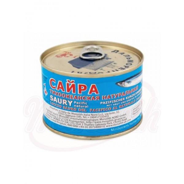Sauri natural en su propio jugo 245 g - Rusia