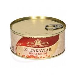 Caviar de salmon rojo Russian Crown keta 250g lata
