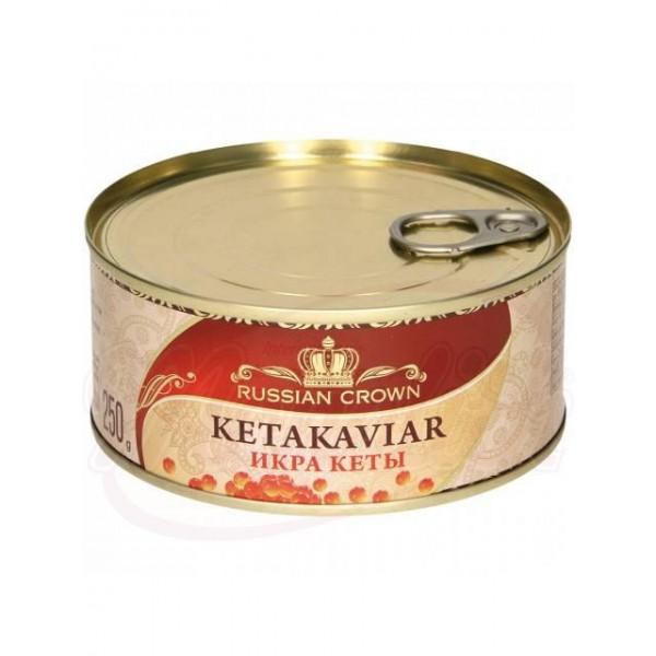 Caviar de salmon rojo Russian Crown keta 250g lata - Huevas