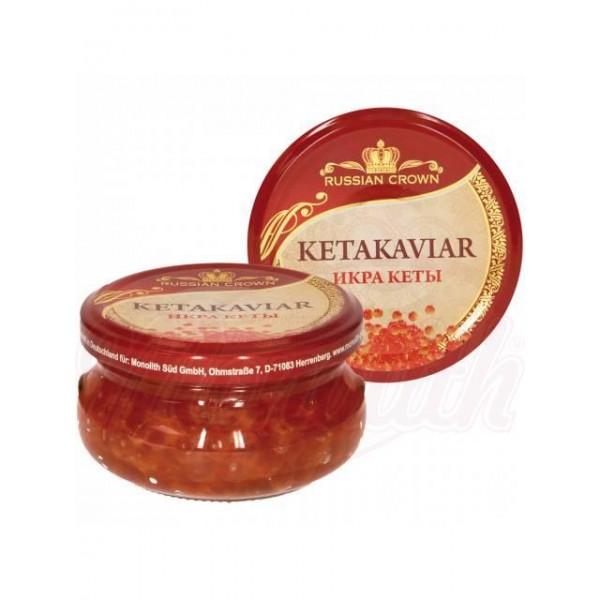 Caviar de salmon rojo Russian Crown keta 100g - Huevas