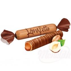 "Bombones glaseados ""Konafetto nero"" rellenos de crema con sabor a avellana 100g"